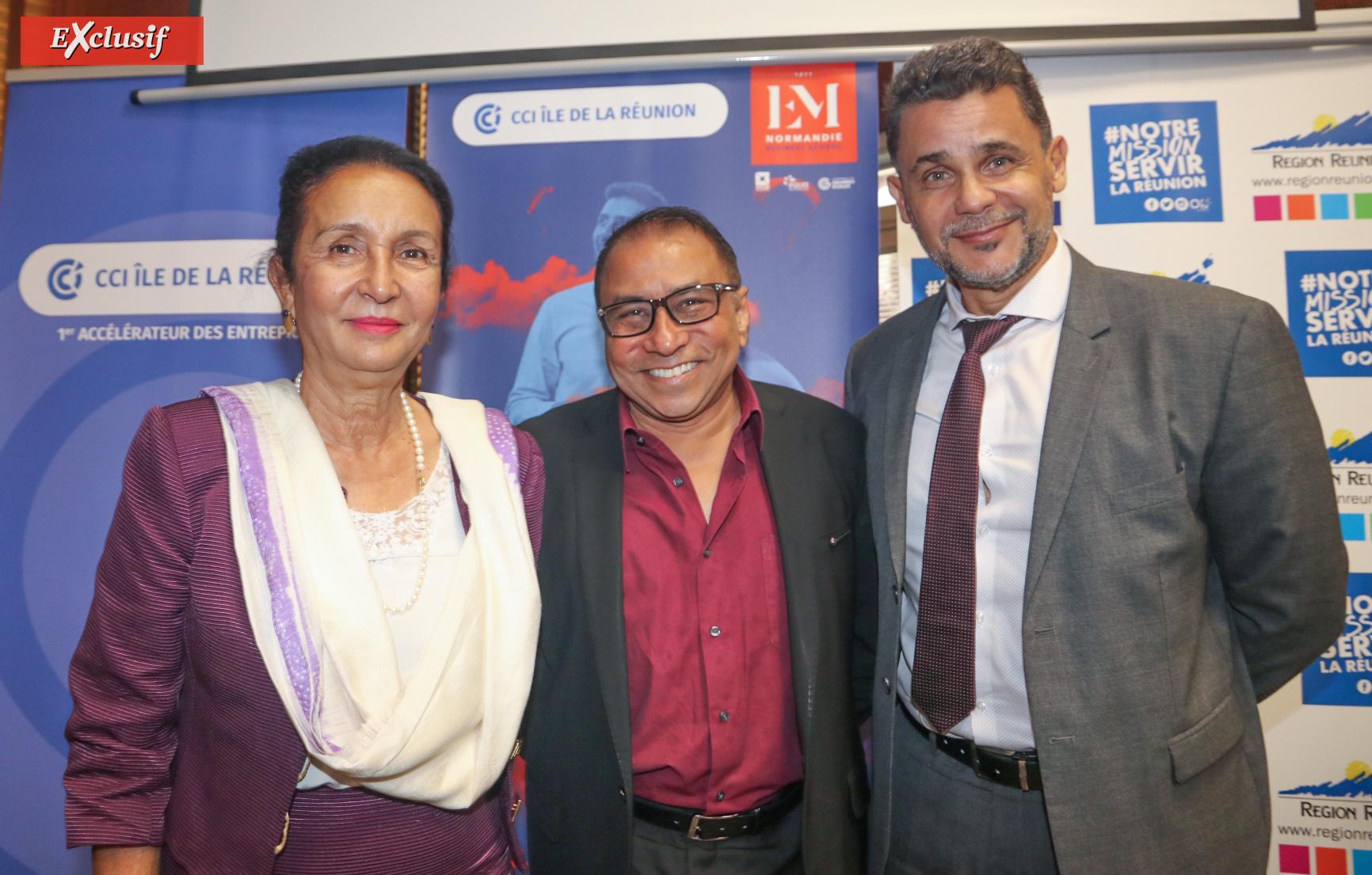 Huguette Bello, présidente de la Région, Ibrahim Patel, président de la CCIR, et Mr Legros, représentant du Rectorat